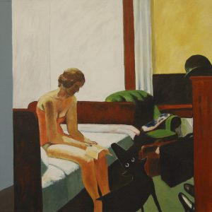 Yapping Hopper, Hotelkamer 1931 – 100x100cm – Acrylverf op canvas – Origineel – Peter Bastiaanse | Gallery Untitled