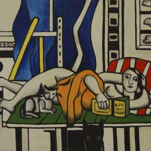 Yapping Légèr, vrouw met kat 1955 – 80x90cm – Acrylverf op canvas – Origineel – Peter Bastiaanse | Gallery Untitled