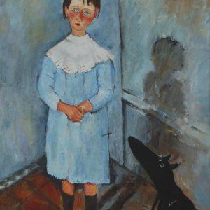 Yapping Modigliani, meisje in blauw 1918 – 60x45cm Acrylverf op canvas – Origineel – Peter Bastiaanse | Gallery Untitled