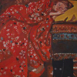 Yapping Breitner, meisje in rode kimono 1895 – 140x90cm Acrylverf op canvas – Origineel – Peter Bastiaanse | Gallery Untitled