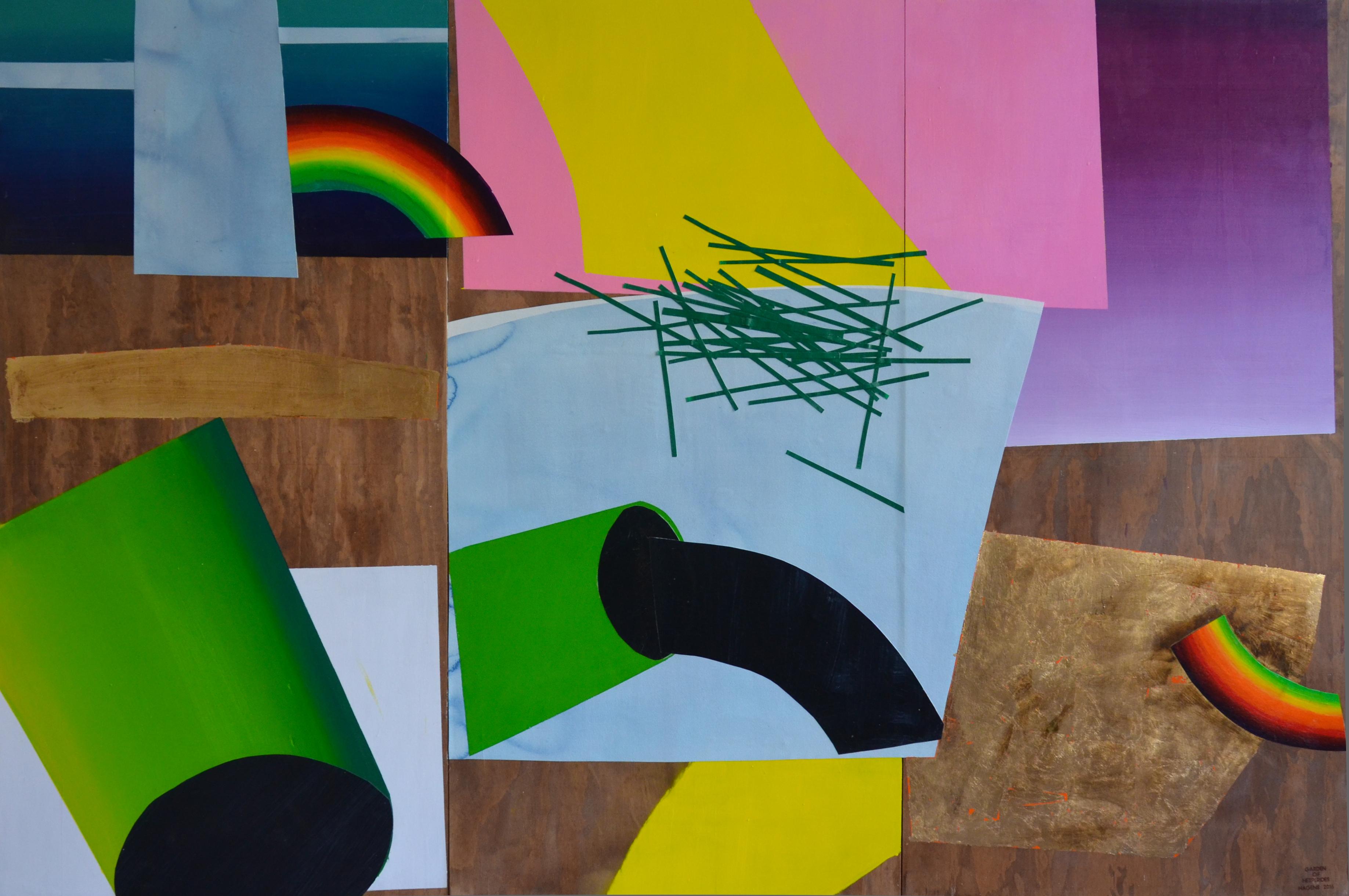Garden of Hesperides #28 | 180 x 270 cm | Papier, acrylverf, bladgoud op paneel | 2016 | Sasja Hagens | Gallery Untitled