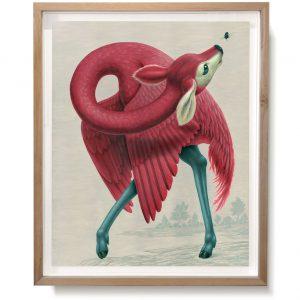 Phoenicopterus Cervocephalus (2015) | Print: 100 x 80 cm | Giclee print op Hahnemühle papier in houten lijst | Oplage 3 | Origineel: 114 x 95 cm | Aquarel/Acryl, Waspotlood in handgemaakte houten lijst | Raoul Deleo | Gallery Untitled