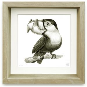 Ramphastos Oxypsalides (2006) | 15 x 15 cm | Giclee print op Hahnemühle papier in handgemaakte houten lijst | Oplage 25 + 2AP | Raoul Deleo | Galerie Untitled | Gallery Untitled