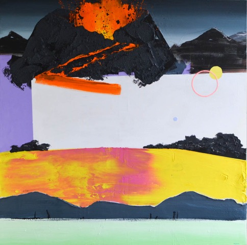 Kalypso #1 | 170 x 170 cm | Acrylverf, papier en emulsie op canvas | Sasja Hagens | Gallery Untitled