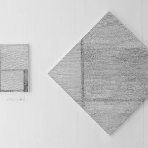 Mondriaans composities in het Nederlands (serie van 3) | 3 verschillende maten | Pen op doek | Jerry Hormone | Gallery Untitled
