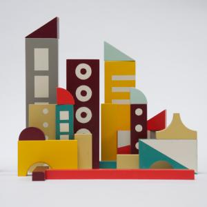 City Blockset [prototype] 2015-2016 | Oplage 1/2 | div. opstellingen mogelijk | beukenhout en lak (waterbasis) | Floris Hovers | Gallery Untitled