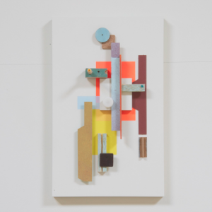 Compositie 03, 2019 | Oplage 1/1 | 34 x 21 cm | div. soorten hout/multiplex, lak (water/terp.), karton, kunststof, vilt | Floris Hovers | Gallery Untitled