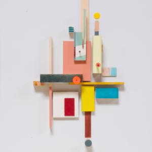 Compositie 04, 2019 | Oplage 1/1 | 48 x 36 cm | div. soorten hout/multiplex, lak (water/terp.), karton, kunststof, stof | Floris Hovers | Gallery Untitled