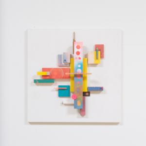 Compositie 06, 2019 | Oplage 1/1 | 50 x 50 cm | div. soorten hout/multiplex, lak (water/terp.), kunststof | Floris Hovers | Gallery Untitled