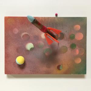 Space Rocket CCCP, 2019 | Oplage 1/1 | 30 x 21 cm | div. soorten hout/multiplex, lak (water/terp.), metaal/koper, kunststof | Floris Hovers | Gallery Untitled